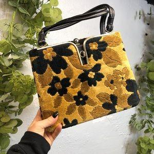 Vintage Handbag Floral Mustard